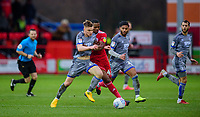 Lincoln City's Jake Hesketh vies for possession with Accrington Stanley's Sadou Diallo<br /> <br /> Photographer Andrew Vaughan/CameraSport<br /> <br /> The EFL Sky Bet League One - Accrington Stanley v Lincoln City - Saturday 15th February 2020 - Crown Ground - Accrington<br /> <br /> World Copyright © 2020 CameraSport. All rights reserved. 43 Linden Ave. Countesthorpe. Leicester. England. LE8 5PG - Tel: +44 (0) 116 277 4147 - admin@camerasport.com - www.camerasport.com