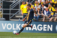 24 OCTOBER 2010:  Philadelphia Union defender Danny Califf (4) during MLS soccer game against the Columbus Crew at Crew Stadium in Columbus, Ohio on August 28, 2010.