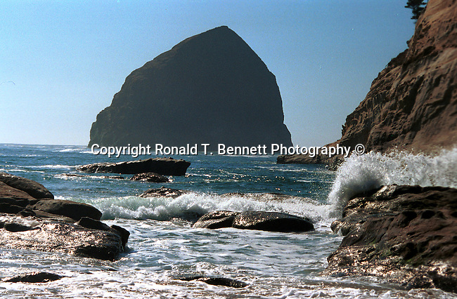 Haystack Rock 235 feet high monolith the sea stack Oregon coast, Haystack Rock, sea stack, intertidal, tide pools, starfish, anemone, crabs, chitons, limpets, sea slugs, sea birds, terns, puffins,  Canon Beach in Clatsop County, Pacific Ocean, Fine Art Photography by Ron Bennett, Fine Art, Fine Art photography, Art Photography, Copyright RonBennettPhotography.com ©