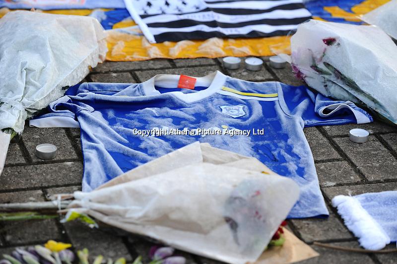 Tributes to Emiliano Sala outside the Cardiff City Stadium