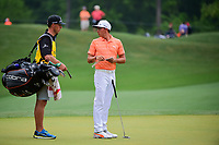 Rickie Fowler (USA) looks over his putt on 3 during round 4 of the Shell Houston Open, Golf Club of Houston, Houston, Texas, USA. 4/2/2017.<br /> Picture: Golffile | Ken Murray<br /> <br /> <br /> All photo usage must carry mandatory copyright credit (&copy; Golffile | Ken Murray)