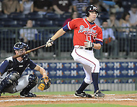 10 April 2008: Infielder Greg Creek (25) of the Mississippi Braves, Class AA affiliate of the Atlanta Braves, in a game against the Mobile BayBears at Trustmark Park in Pearl, Miss. Photo by:  Tom Priddy/Four Seam Images