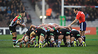 Danny Care of Harlequins puts the ball into a scrum during the Heineken Cup match between Harlequins and Racing Metro 92 at the Twickenham Stoop on Sunday 15th December 2013 (Photo by Rob Munro)