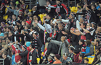 Saints fans challenge a referee's decision during the ANZAC Day AFL match between St Kilda Saints and Brisbane Lions at Westpac Stadium, Wellington, New Zealand on Friday, 25 April 2014. Photo: Dave Lintott / lintottphoto.co.nz