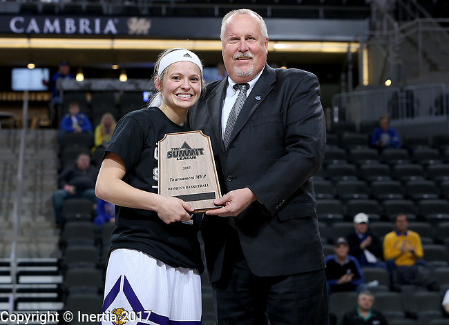 SIOUX FALLS, SD: MARCH 7: 	Emily Clemens holds the tournament MVP award with commissioner Tom Douple following the Women's Summit League Basketball Championship Game on March 7, 2017 at the Denny Sanford Premier Center in Sioux Falls, SD. (Photo by Dave Eggen/Inertia)