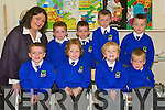 Having a fantastic first week at school in Killocrim Primary School were the junior infants class. Front l-r Sean Mahoney, Jack McElligott, Nikolai O'callaghan and Cian Horgan. Back l-r teacher Catherine O'Driscoll, Aaron Broderick, Philip Healy, Kieran O'Donoghue and Shane Gleeson.    Copyright Kerry's Eye 2008