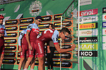 Team Katusha Alpecin at sign on before the start of the 112th edition of Il Lombardia 2018, the final monument of the season running 241km from Bergamo to Como, Lombardy, Italy. 13th October 2018.<br /> Picture: Eoin Clarke | Cyclefile<br /> <br /> <br /> All photos usage must carry mandatory copyright credit (© Cyclefile | Eoin Clarke)