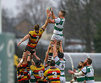 Rayn SMID of Ealing Trailfinders collects the ball in the line out during the Championship Cup match between Ealing Trailfinders and Richmond at Castle Bar , West Ealing , England  on 15 December 2018. Photo by David Horn.