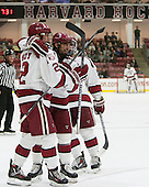 The Crimson celebrate Tyler Moy's (Harvard - 2) goal which gave Harvard its first lead. - The Harvard University Crimson defeated the Dartmouth College Big Green 5-2 to sweep their weekend series on Sunday, November 1, 2015, at Bright-Landry Hockey Center in Boston, Massachusetts. -