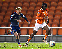 Blackpool's Viv Solomon-Otabor competes with Charlton Athletic's Ben Reeves<br /> <br /> Photographer Richard Martin-Roberts/CameraSport<br /> <br /> The EFL Sky Bet League One - Blackpool v Charlton Athletic - Tuesday 13th March 2018 - Bloomfield Road - Blackpool<br /> <br /> World Copyright &copy; 2018 CameraSport. All rights reserved. 43 Linden Ave. Countesthorpe. Leicester. England. LE8 5PG - Tel: +44 (0) 116 277 4147 - admin@camerasport.com - www.camerasport.com