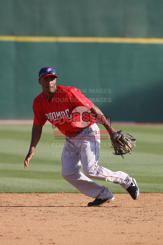 Potomac Nationals infielder Francisco Soriano #4 taking ground balls at shortstop before a game against the Myrtle Beach Pelicans at Tickerreturn.com Field at Pelicans Ballpark on April 10, 2012 in Myrtle Beach, South Carolina. Potomac defeated Myrtle Beach by the score of 6-4. (Robert Gurganus/Four Seam Images)