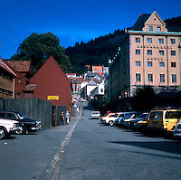 Hotel Rosenkrantz and parked cars in Bergen, Norway 1975.