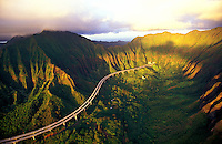 H-3 freeway as it winds through the Koolau mountains with early morning light on Oahu