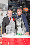 © Joel Goodman - 07973 332324 . . 07/02/2014 .  Manchester , UK . David Neilson , who plays Roy Cropper in Coronation Street , serves behind the counter with Labour candidate Mike Kane on the campaign trail at Jackie's Cafe in Northern Moor , ahead of the Wythenshawe and Sale East by-election . Photo credit : Joel Goodman