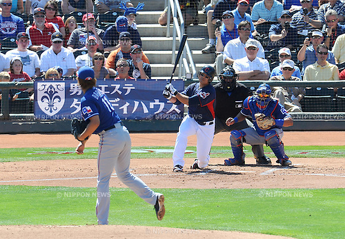 Yu Darvish (Rangers), Shin-Soo Choo (Indians),.MARCH 13, 2012 - MLB :.Yu Darvish of the Texas Rangers strikes out Shin-Soo Choo of the Cleveland Indians during a spring training game at Goodyear Ballpark in Goodyear, Arizona, United States. (Photo by AFLO)