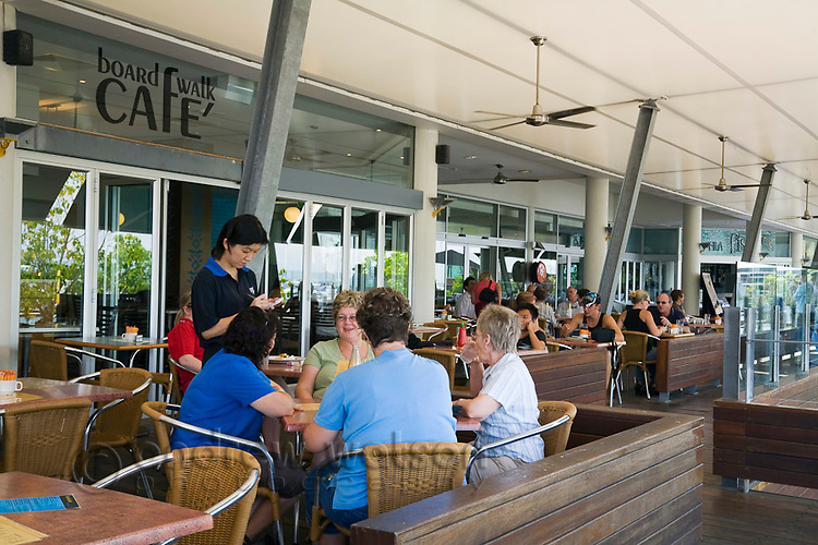 Diners at Boardwalk Cafe.  The Pier, Cairns, Queensland, Australia