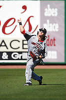 Louisville Cardinals left fielder Danny Oriente (9) during practice before a game against the Ball State Cardinals on February 19, 2017 at Spectrum Field in Clearwater, Florida.  Louisville defeated Ball State 10-4.  (Mike Janes/Four Seam Images)