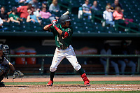 Great Lakes Loons Leonel Valera (8) at bat during a Midwest League game against the Wisconsin Timber Rattlers at Dow Diamond on May 4, 2019 in Midland, Michigan. Great Lakes defeated Wisconsin 5-1. (Zachary Lucy/Four Seam Images)