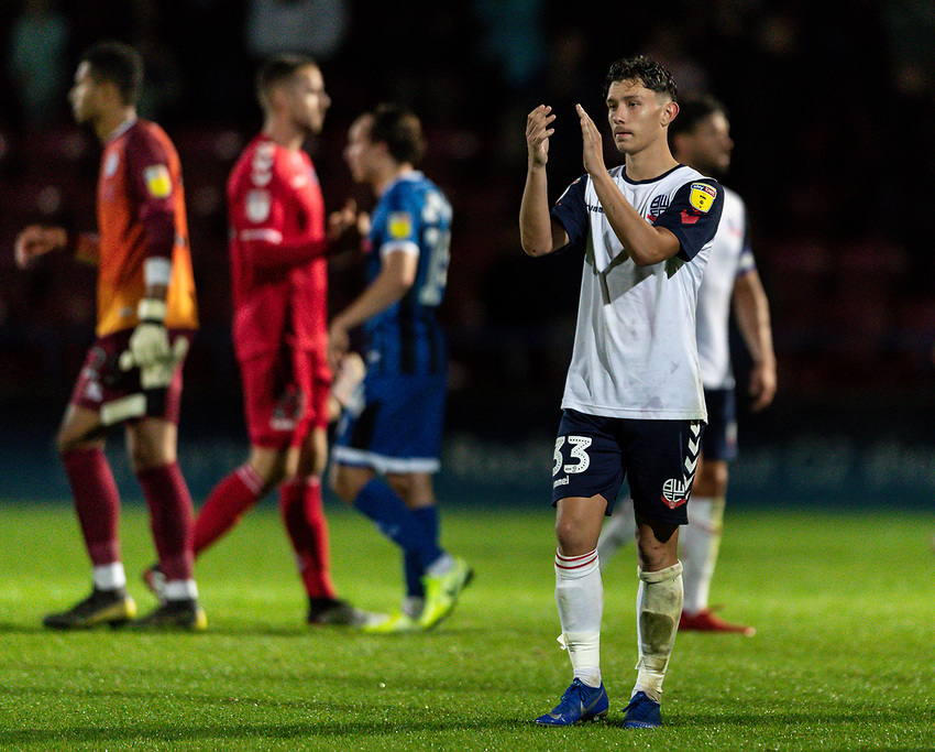 Bolton Wanderers' Eddie Brown applauds his side's travelling supporters at the end of the match<br /> <br /> Photographer Andrew Kearns/CameraSport<br /> <br /> The Carabao Cup First Round - Rochdale v Bolton Wanderers - Tuesday 13th August 2019 - Spotland Stadium - Rochdale<br />  <br /> World Copyright © 2019 CameraSport. All rights reserved. 43 Linden Ave. Countesthorpe. Leicester. England. LE8 5PG - Tel: +44 (0) 116 277 4147 - admin@camerasport.com - www.camerasport.com