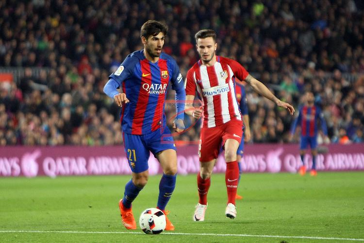 Copa del Rey 2016/2017 - Semifinal vuelta.<br /> FC Barcelona vs Atletico Madrid: 1-1.<br /> Andre Gomes vs Saul.