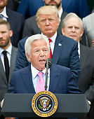 New England Patriots owner Robert Kraft makes remarks as United States President Donald J. Trump listens from behind during the ceremony welcoming the Super Bowl Champions to the South Lawn of White House in Washington, DC on Wednesday, April 19, 2917.<br /> Credit: Ron Sachs / CNP<br /> (RESTRICTION: NO New York or New Jersey Newspapers or newspapers within a 75 mile radius of New York City)