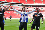 Darrell Clarke (Manager) of Bristol Rovers (centre)  celebrates after victory in the 2015 Vanarama Conference Promotion Final match between Grimsby Town and Bristol Rovers at Wembley Stadium, London<br /> Picture by David Horn/eXtreme aperture photography +44 7545 970036<br /> 17/05/2015