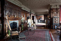 The long gallery, originally part of the Tudor house and extended in the 19th century, contains many antique pieces of furniture from the Jacobean and Elizabethan periods
