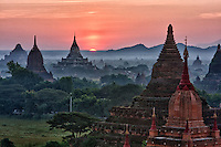 Myanmar, Burma, Bagan.  Temples at Sunrise.