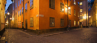 Cobble stone street of old town - gamla stan, Stockholm, Sweden