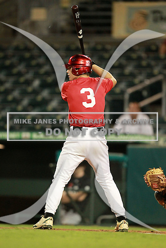 First Baseman/Outfielder Esteban Puerta (3) of American Heritage Plantation High School, committed to Florida Atlantic, participates in the Team One Futures Game East at Roger Dean Stadium on September 25, 2010 in Jupiter, Florida..  (Copyright Mike Janes Photography)