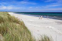 Denmark, Jutland, Ålbæk: View over sand dunes to white sand beach | Daenemark, Juetland, Aalbæk: einsame, lange Straende laden zum Spaziergang ein