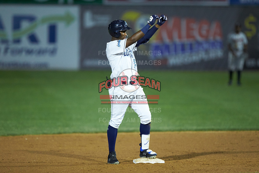 Seuly Matias (25) of the Wilmington Blue Rocks stands on second base after having hit a double against the Fayetteville Woodpeckers at Frawley Stadium on June 6, 2019 in Wilmington, Delaware. The Woodpeckers defeated the Blue Rocks 8-1. (Brian Westerholt/Four Seam Images)