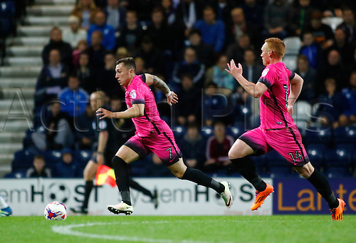 09.08.2016. Deepdale, Preston, England. Football League Cup 1st Round. Preston North End versus Hartlepool. Hartlepool United midfielders Nathan Thomas (7) and Michael Woods (14) advance into the Preston half as their side chases a late winner.