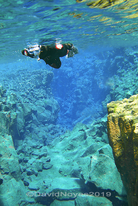 The visibility is stunning as a mild current guides snorkelers through a narrow canyon in a vast lava field between the North America and Eurasian continents. It takes 20 years for the melt waters from nearby Langjökull glacier to filter through the lava field and into the fissure, resulting in some of the clearest water found anywhere on Earth.