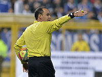 BOGOTÁ -COLOMBIA, 27-04-2014. Luis Sanchez, arbitro, durante el encuentro de ida entre La Equidad y Millonarios por los cuartos de final de la Liga Postobón I 2014 jugado en el estadio de Techo de la ciudad de Bogotá./ Luis Sanchez, referee, during the first leg match between La Equidad and Millonarios for quarter finals of the Postobon League I 2014 played at Metropolitano de Techo stadium in Bogotá city. Photo: VizzorImage/ Gabriel Aponte / Staff