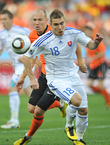 28 06 2010    Slovakia s Erik Jendrisek Front Breaks Through during The 2010 World Cup Round of 16 Soccer Match Against The Netherlands AT Moses Mabhida stadium in Durban South Africa ON June 28 2010