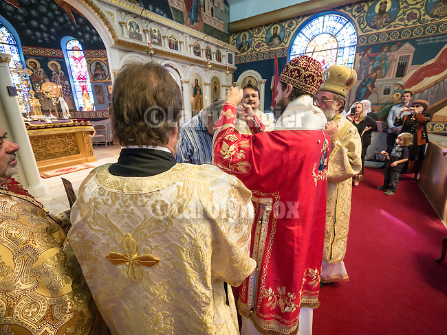 60th anniversary of the consecration of St. John the Baptist Serbian Orthodox Cathedral, San Francisco, Calif.<br /> <br /> Bishop Maxim tonsures a new reader in front of the altar