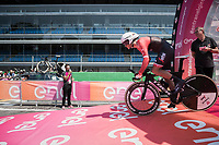 Jasper Stuyven (BEL/Trek-Segafredo) rolling off the start podium in the Autodromo Nazionale in Monza for the closing iTT towards Milano<br /> <br /> stage 21: Monza - Milano (29km)<br /> 100th Giro d'Italia 2017