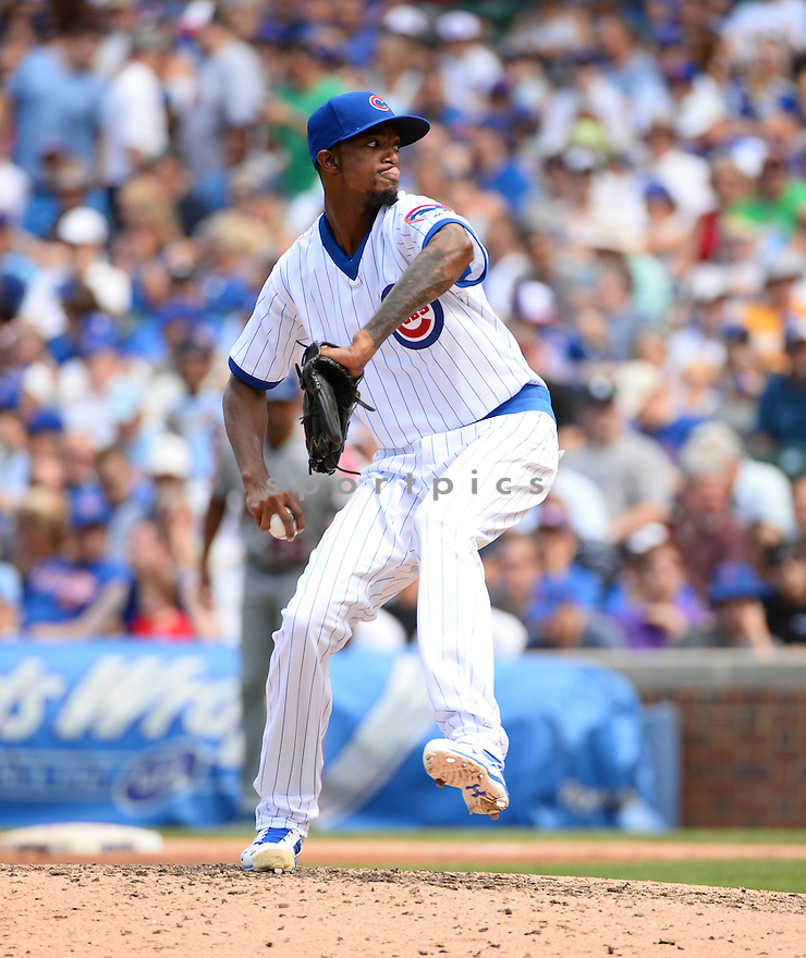 Chicago Cubs Carl Edwards Jr. (6) during a game against the New York Mets on July 20, 2016 at Wrigley Field in Chicago, IL. The Cubs beat the Mets 6-2.