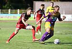 2018-08-05 / Voetbal / Seizoen 2018-2019 / KFC Duffel - RUSC Anderlues / Yannick Verlinden (l. Duffel) met Robin Delcourt<br /> <br /> ,Foto: Mpics