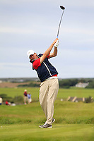 Steffan O'Hara (Co. Sligo) on the 14th tee during Round 3 of The South of Ireland in Lahinch Golf Club on Monday 28th July 2014.<br /> Picture:  Thos Caffrey / www.golffile.ie