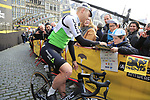 Julien Vermote (BEL) Team Dimension Data at the team presentation in Antwerp before the start of the 2019 Ronde Van Vlaanderen 270km from Antwerp to Oudenaarde, Belgium. 7th April 2019.<br /> Picture: Eoin Clarke | Cyclefile<br /> <br /> All photos usage must carry mandatory copyright credit (&copy; Cyclefile | Eoin Clarke)
