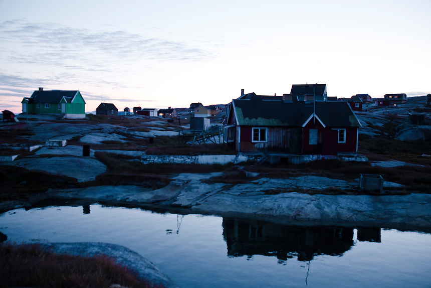 The small settlement of Rodebay at midnight, West Greenland, August 2011. Photo: Ed Giles.