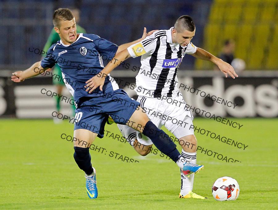 Fudbal Super liga season 2013-2014<br /> Partizan v Rad<br /> Marko Zivkovic (R) and Nemanja Mihajlovic<br /> Beograd, 01.09.2013.<br /> foto: Srdjan Stevanovic/Starsportphoto &copy;