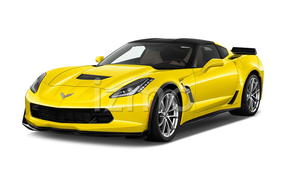 2018 Chevrolet Corvette Grand-Sport-2LT 3 Door Coupe Angular Front stock photos of front three quarter view