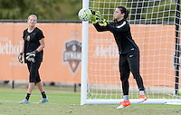 Houston, TX - Thursday Oct. 06, 2016: Britt Eckerstrom, Sabrina D'Angelo during training prior to the National Women's Soccer League (NWSL) Championship match between the Washington Spirit and the Western New York Flash at BBVA Compass Stadium.