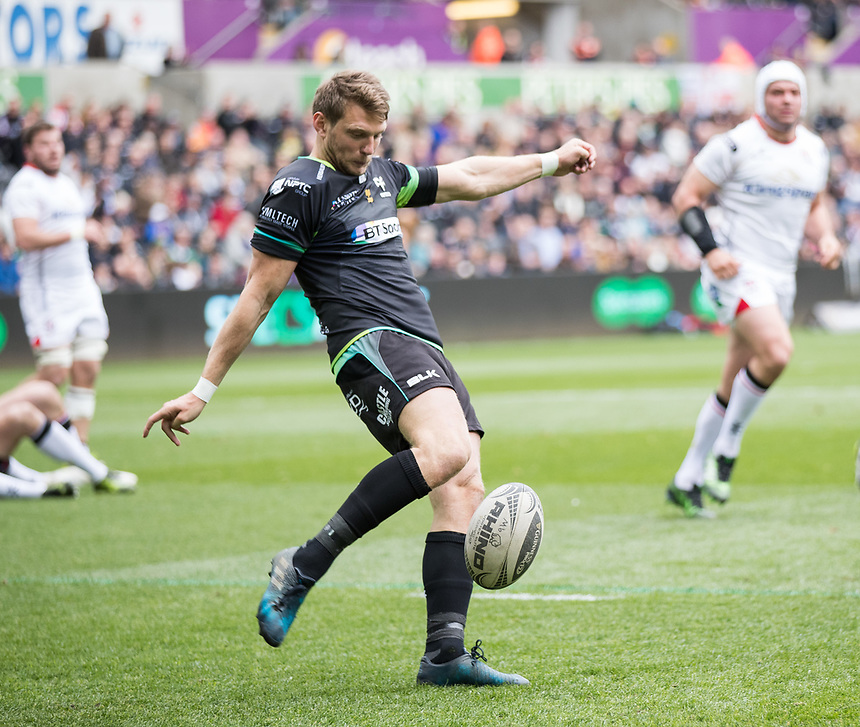 Ospreys' Dan Biggar clears<br /> <br /> Photographer Simon King/CameraSport<br /> <br /> Guinness Pro12 Round 21 - Ospreys v Ulster Rugby - Saturday 29th April 2017 - Liberty Stadium - Swansea<br /> <br /> World Copyright &copy; 2017 CameraSport. All rights reserved. 43 Linden Ave. Countesthorpe. Leicester. England. LE8 5PG - Tel: +44 (0) 116 277 4147 - admin@camerasport.com - www.camerasport.com