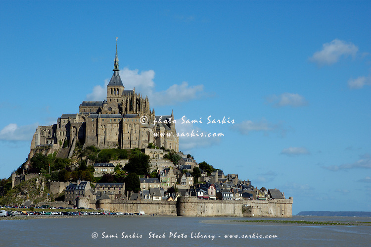 Mont Saint-Michel, a fortified medieval monastery on an island in Normandy, France.