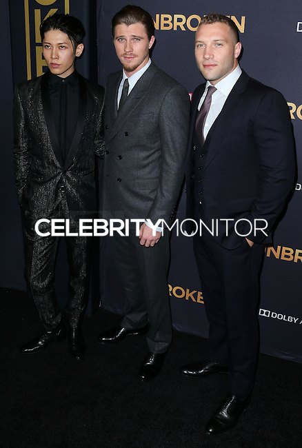 HOLLYWOOD, LOS ANGELES, CA, USA - DECEMBER 15: Miyavi, Garrett Hedlund, Jai Courtney arrives at the Los Angeles Premiere Of Universal Pictures' 'Unbroken' held at the Dolby Theatre on December 15, 2014 in Hollywood, Los Angeles, California, United States. (Photo by Xavier Collin/Celebrity Monitor)