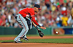 9 June 2012: Washington Nationals shortstop Ian Desmond gets the third out of the third inning of a game against the Boston Red Sox at Fenway Park in Boston, MA. The Nationals defeated the Red Sox 4-2 in the second game of their 3-game series. Mandatory Credit: Ed Wolfstein Photo